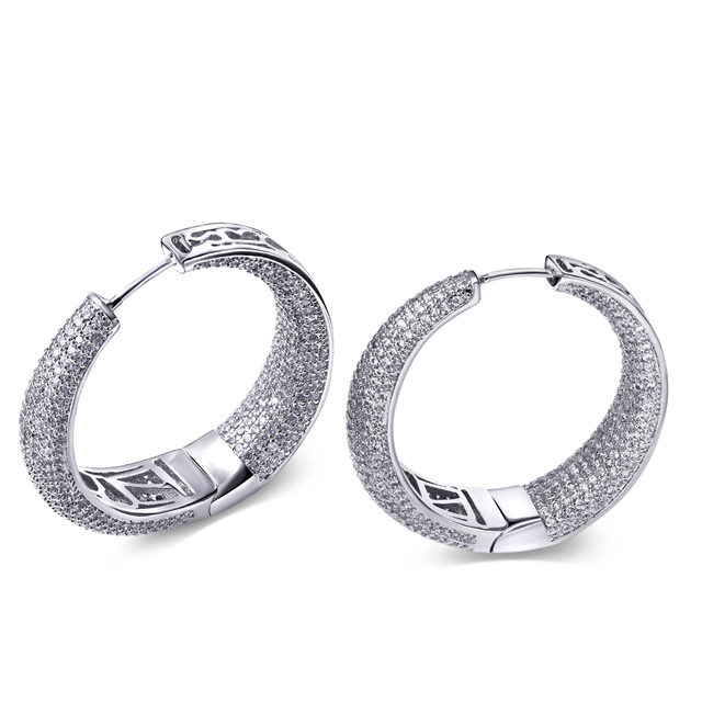 Make yourself luxury Brilliant quality Pave setting 100% Synthetic zincoina crystal jewelry 3.8cm diameter Big hoop earrings