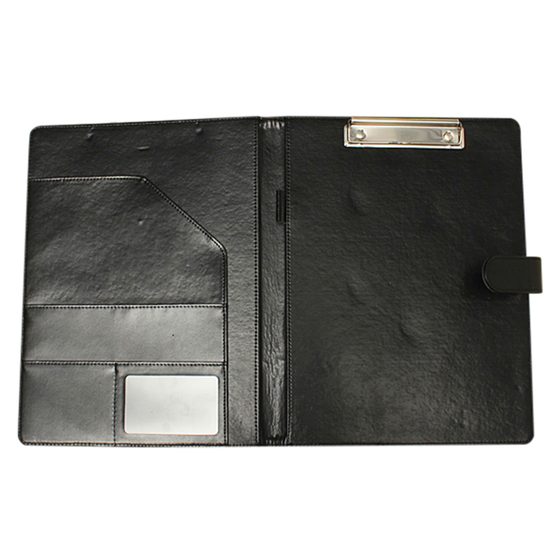 A4 Zipped Conference Folder Business Faux Leather Document Organiser Portfolio Black kicute executive conference folder pu portfolio zipped leather look folder document organiser document holder office supplies