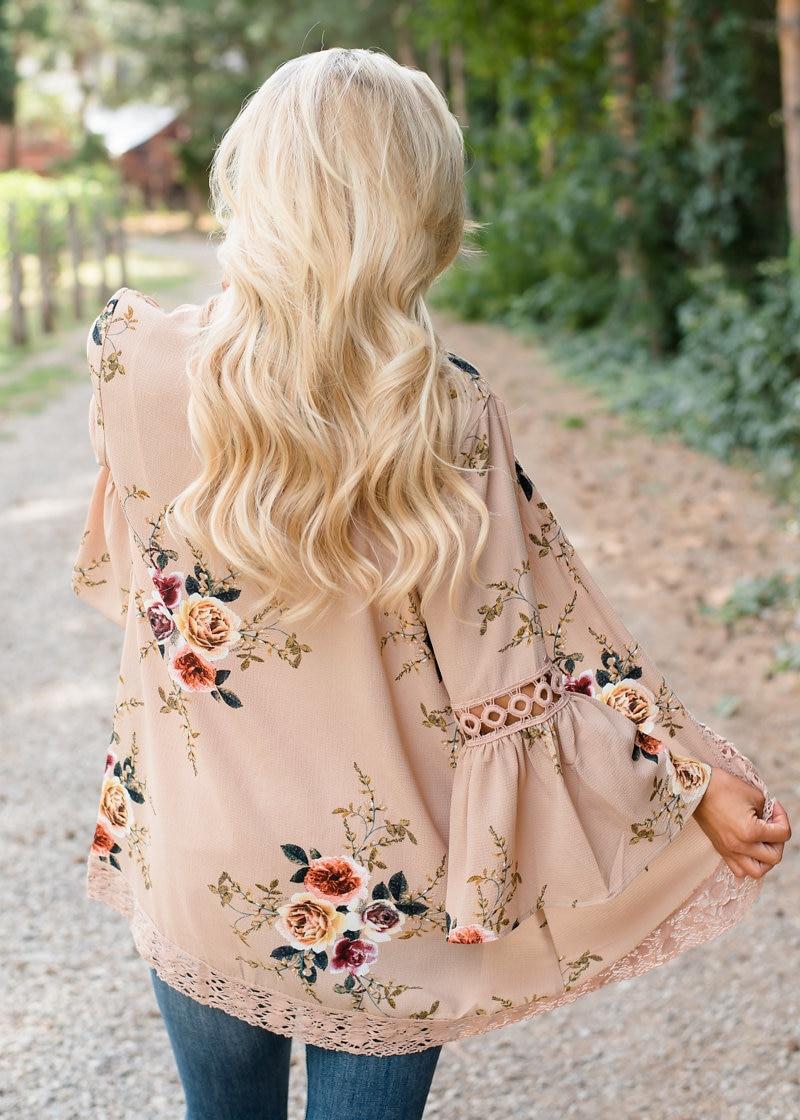 HTB1CWysEhSYBuNjSsphq6zGvVXaM Women Plus Size Loose Casual Basic Jackets Female 2018 Autumn Long Flare Sleeve Floral Print Outwear Coat Open Stitch Clothing