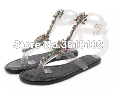 59187e6372b460 ... Thong Rhinestones Woman Gladiator Shoes Flops Crystal 43 Chains Women  Sandals Sandals 2018 Flat Sandals Flip ...