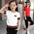 3-12 Anos Conjunto de Roupas Meninas de Verão para Crianças/Boy ALTA CINCO T-shirt Curto + calças de Lazer Crianças ternos