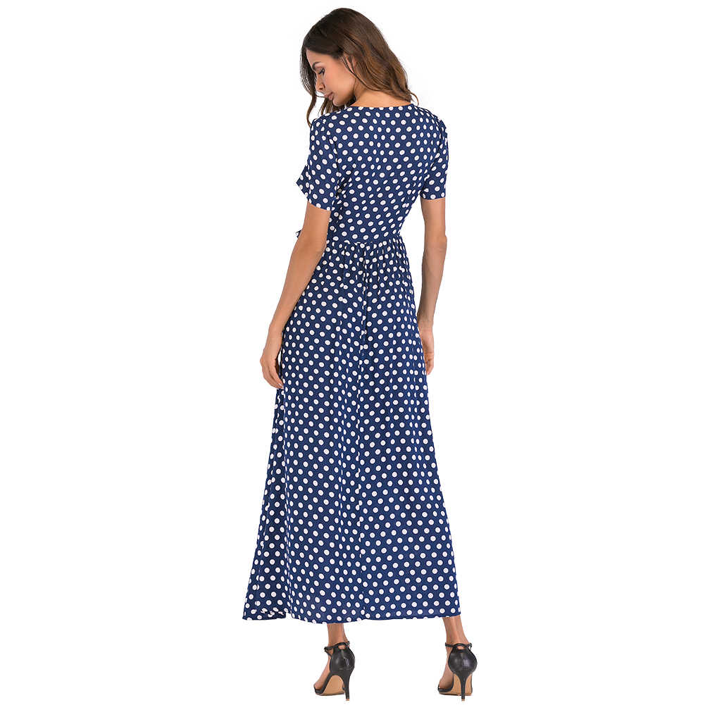 Anself шифоновые в горошек платья женские модные женские длинные платья в горошек Короткие рукава с высокой талией галстук А-силуэт винтажное Макси платье