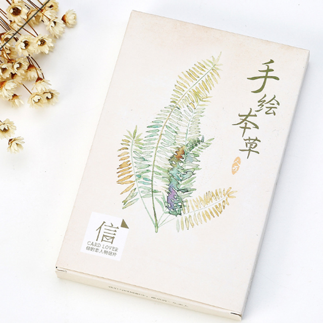 30 pcs pack creative vintage watercolor drawing plant postcards gift