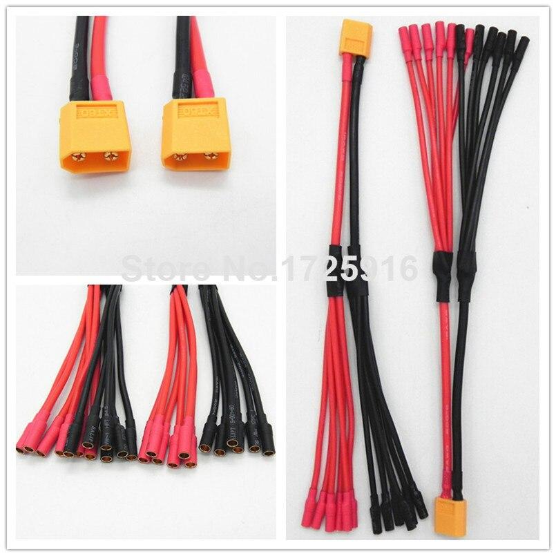 """5 шт./лот XT60 гнездовой разъем для 4 или 6*3,5 мм разъем типа """"банан"""" женский параллельный зарядный кабель удлинитель 12AWG 20 см Y сплиттер DZ0132"""