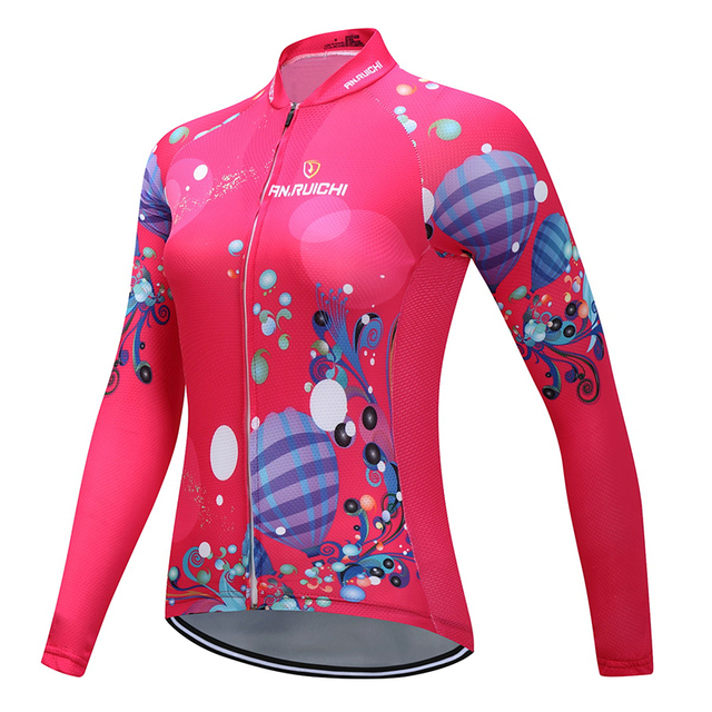 Women Full Sleeve Cycling Jersey Bright Rose Red Floral Print Breathable  Quick Dry Riding Jerseys Customized Wholesale Service bea3503ef