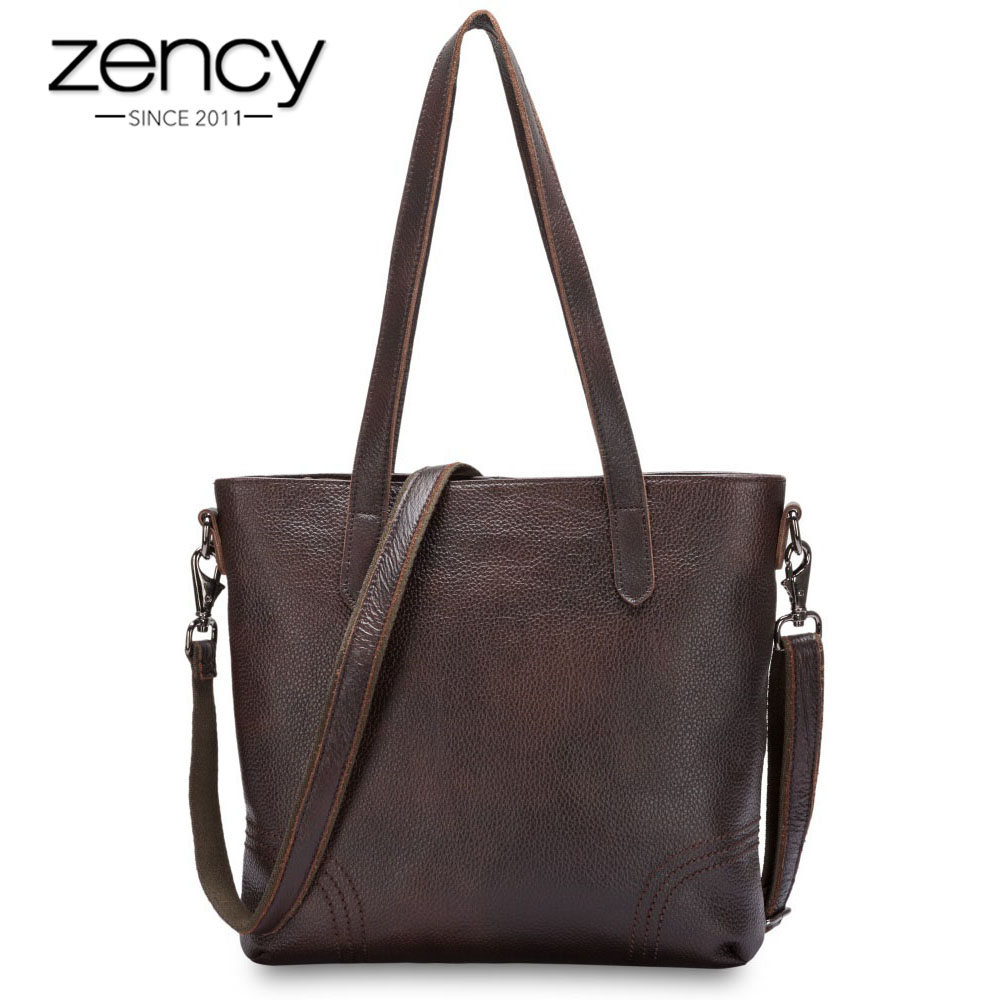Zency Vintage Women Shoulder Bag Famous Brand Genuine Leather Handbag bolsas Large Capacity Casual Tote Fashion Messenger Female fashion casual michael handbag luxury louis women messenger bag famous brand designer leather crossbody classic bolsas femininas