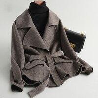 Демисезонный Для женщин Короткие шерстяные пальто с лацканами браслет рукавом Шерстяное пальто с поясом wc0001