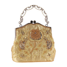Vintage Beading Women Evening Party Clutch Bag Sequin Floral Hollow Metal Frame Handbag Single Chain Shoulder Bag Crossbody Flap sequin everning clutch bag for party acrylics flap bag with metal china women clutch bling eye crossbody bag sequin bag