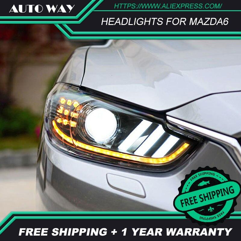 Free shipping Car styling LED HID Rio LED headlights Head Lamp case for Mazda Mazda6 Atenza