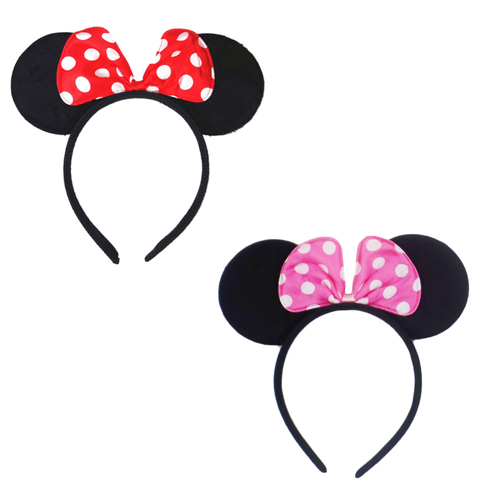 Kids' Minnie Black Mouse Ears Headbands Handmade Dots Hair Bow Hairbands Cute Girls' Photography Props Hair Accessories sequin bow minnie mouse ears headband for kids shiny glitter hair bow hairbands girls photography props hair accessories