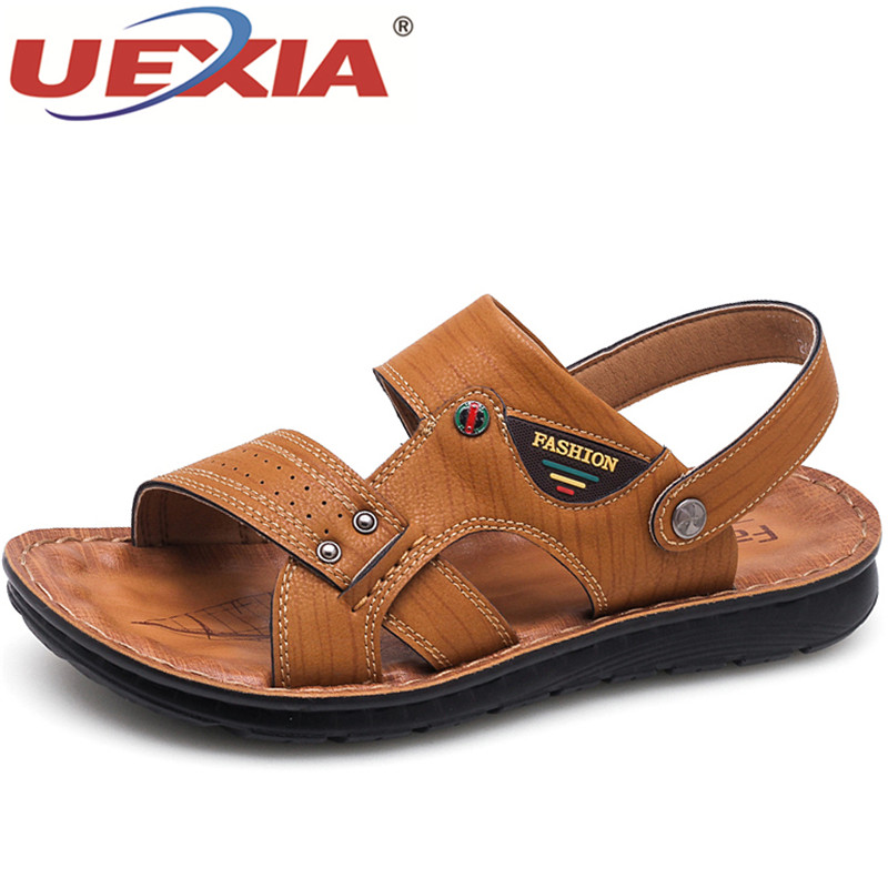 UEXIA Hot Sale Men Sandals New Summer casual Men Shoes High Quality Leather Sandals Fashion Men's Flats Shoes Beach Shoes Male anmairon shallow leisure striped sandals women flats shoes new big size34 43 pu free shipping fashion hot sale platform sandals