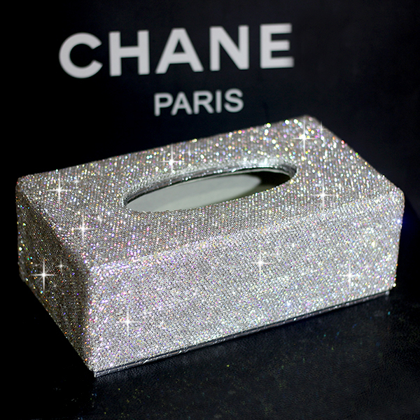 Fashion PU leather Crystal Diamond Tissue case Paper box for home Tissue holder car tissue box
