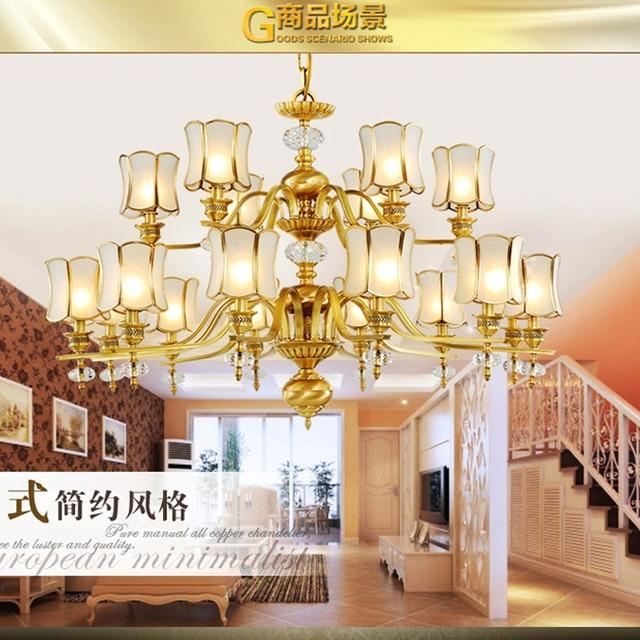 Decke Kronleuchter Für Wohnzimmer Doppelboden Treppen Kupfer Kronleuchter  Mit Glas Schatten Schmiedeeisen Kronleuchter Kupfer Lampe