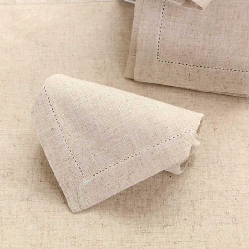 """Hemstitched ผ้าลินินผ้าตารางผ้าลินินผ้าเช็ดปากที่สวยงาม 45x45 ซม.(18x18 """")"""