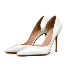 Comfort Pumps Concise Women OL Office Shoes New Show Thin Solid Patent Leather Pointed Toe Fashion High Heels J0021