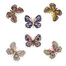 Brooch-Pins Rhinestons Butterfly Women of WEIMANJINGDIAN for 6pcs Colorful Wholesale