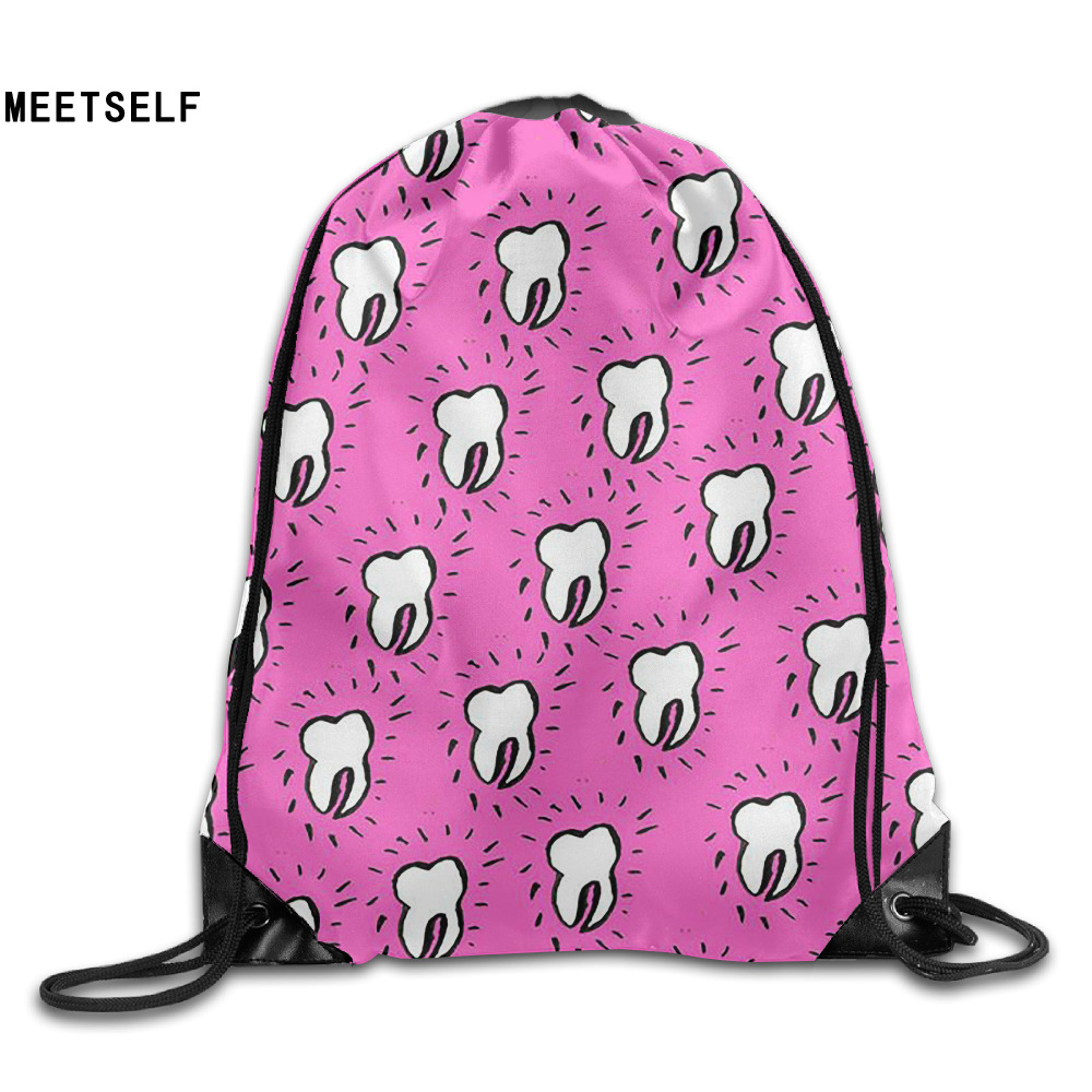 Samcustom 3d Print Tooth Shoulders Bag Women Fabric Backpack Girls Beam Port Drawstring Travel Shoes Dust Storage Bags