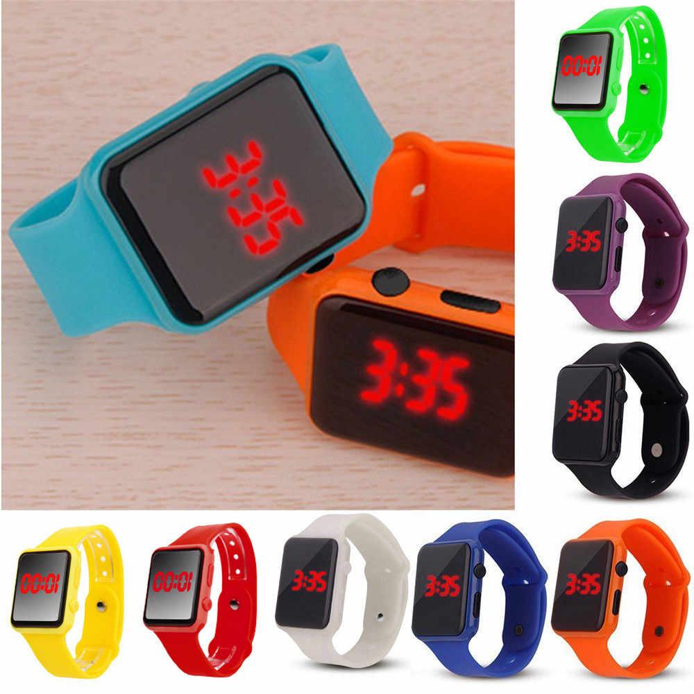 Yeni silikon kayış Unisex dijital LED spor saat silikon bant bilek saatler erkek çocuk moda relogio masculino sıcak #03