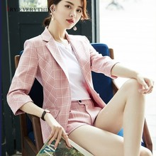 Pink Blazer Women Paid Ladies Suit Jackets Blazers And Brown Plaid Korean Woman 2019 Autumn