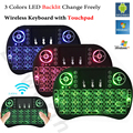 Retroiluminada i8 Air Mouse Mini Wireless Keyboard Touchpad Control Remoto para Android TV BOX X96 T95 Retroiluminación PC PS3 Gamepad hebreo