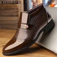 designer patent leather snow boots men winter shoes men luxury brand metal buckle ankle boots men timber land shoes botas hombre