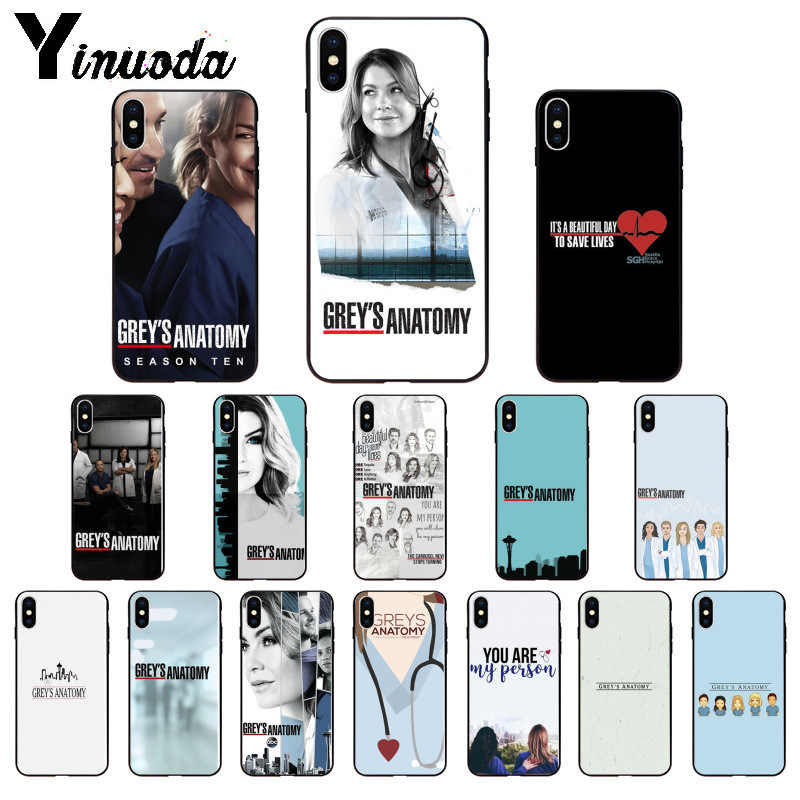 Yinuoda American TV Greys Anatomy Nurse doctor Pattern TPU Soft Phone Case for Apple iPhone 8 7 6 6S Plus X XS MAX 5 5S SE XR