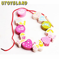 UTOYSLAND Wooden Threading Beads Game for Baby(Mermaid Version)