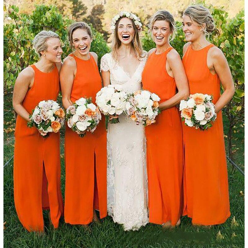orange chiffon bridesmaid dresses,Orange Chiffon Wedding Dress,orange bridesmaid dresses,
