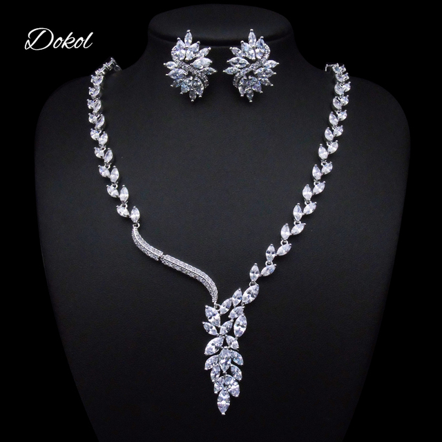 DOKOL Elegant Wedding Jewelry Sets Marquise Cut CZ Statement