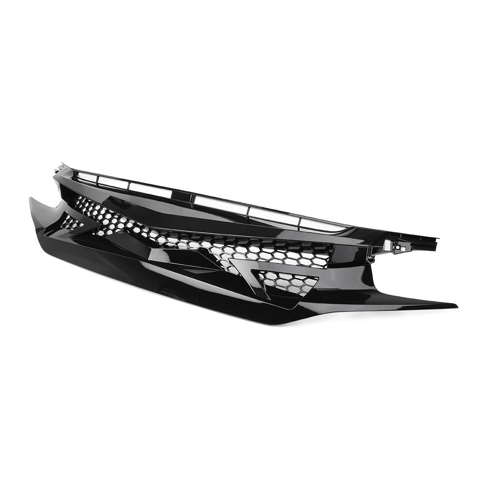Pour 2016 2017 2018 2019 Honda Civic 10th Gen FK8 type-r Style Grille de capot avant en maille noire brillante