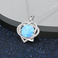 GUP7 women fine jewelry,double love heart opal necklace , a pendant for love given your favotite girl