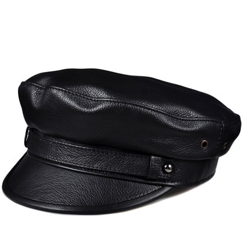 2019 Spring Men Women Genuine Leather Navy Hats Unisex European American Streetwear Fitted Black Caps With