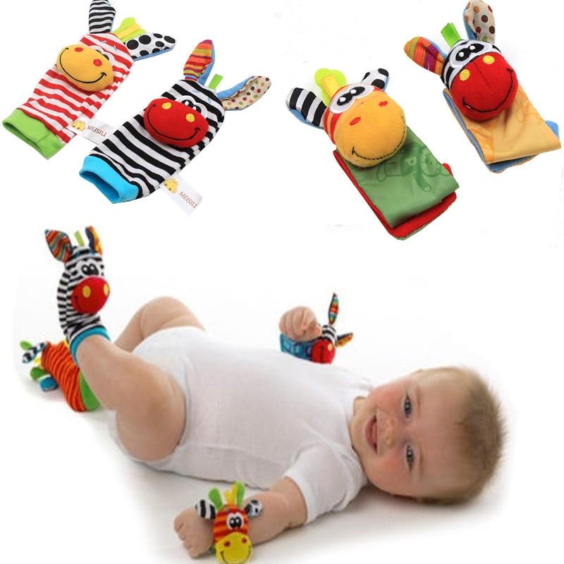 Cartoon Baby Toys Soft Animal Baby Rattles Children Infant 0-12 Months Newborn Plush Sock Baby Toy Wrist Strap Baby Foot Socks