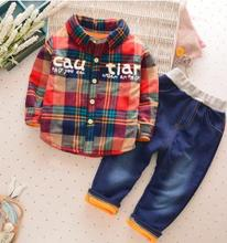 Hot Children Set 2018 Winter Baby Boy Girl Clothes Long Sleeve Plaid Plus Velvet Warm Shirt+Jeans 2Pcs Infant Clothing TOD-020