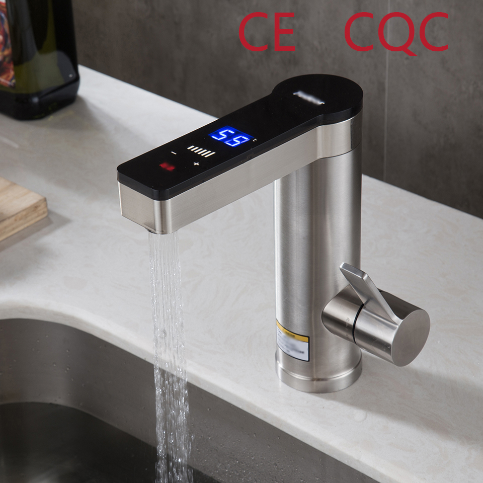 Instant Water Heater Faucet Electric Faucet Sink Shower Heating Tap Tankless Stainless Steel Water Heater Digital Display