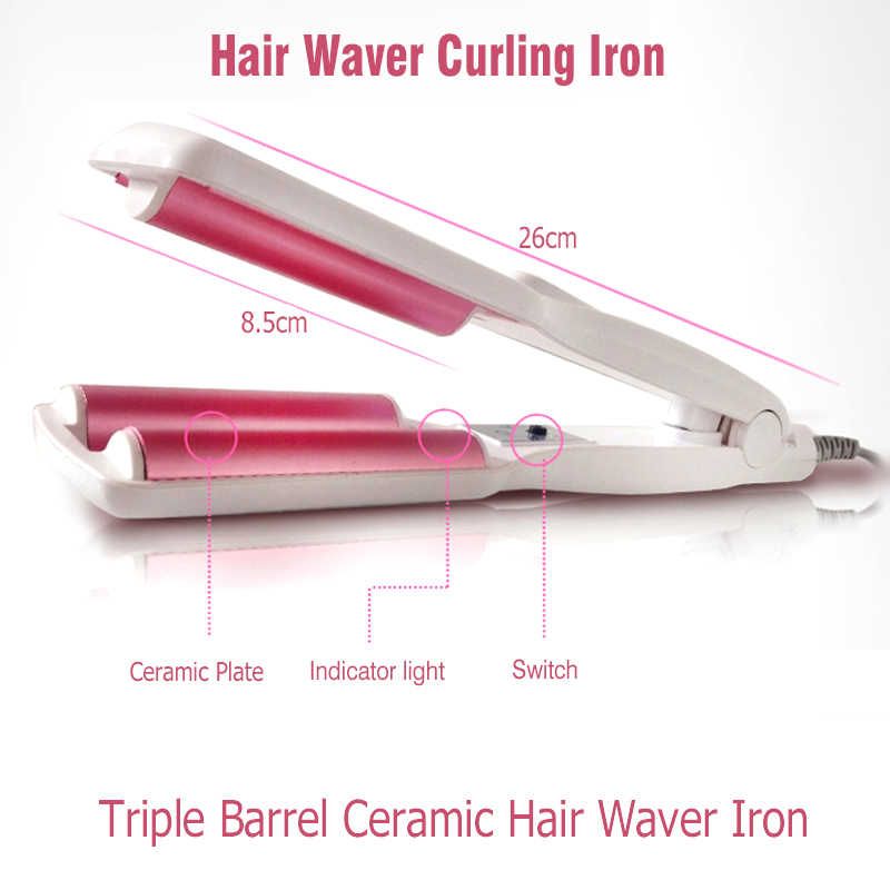 Professional Hair Curling Iron Wave เครื่องมือ Triple Barrels Waver ผม Curl Deep Wave Curler Splint เครื่องมือจัดแต่งทรงผม