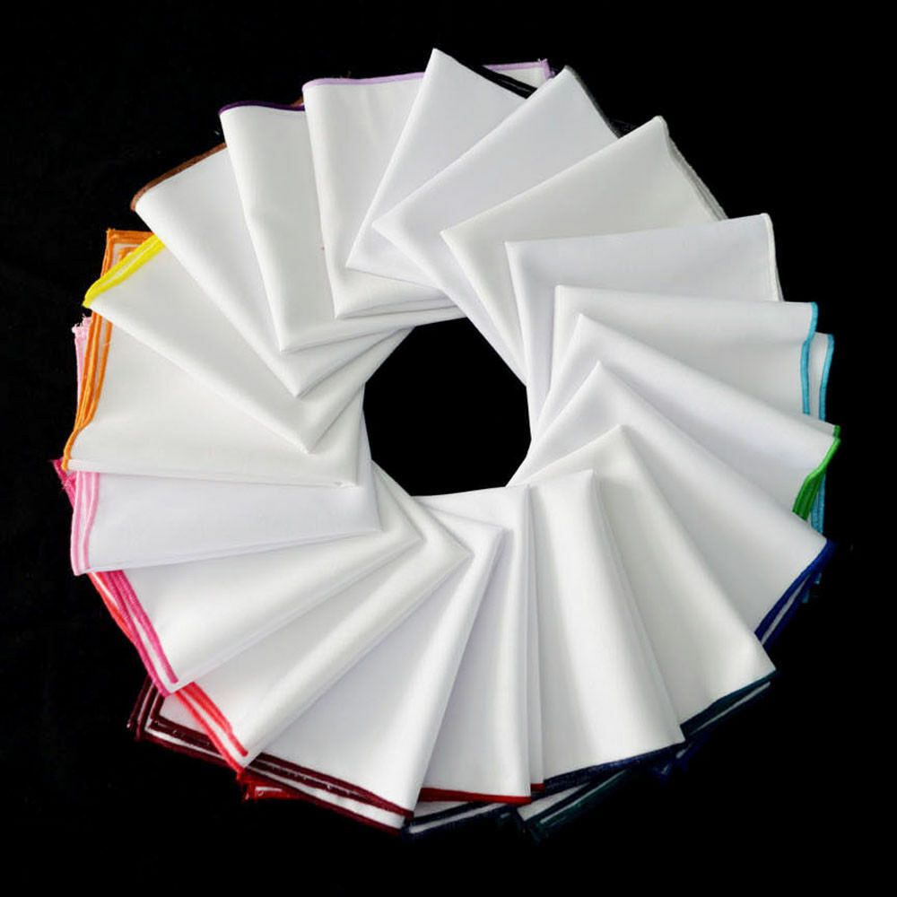 Men's High Quality Handkerchief White Colorful Rolled Edge Hanky Pocket Square YXTIE0503