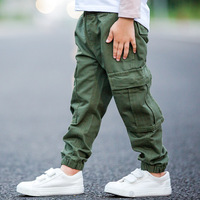 Brand Children Boy Cargo Pants Winter And Autumn Baby Boy Leisure Cotton Army Green Trousers Pocket