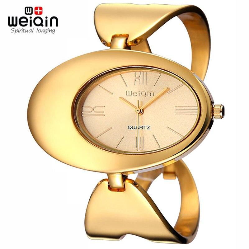 WEIQIN China Brand Gold-Tone Watch Women Waterproof Rome Quartz Big Face Bangle Watch Fashion Ladies Wristwatch relojes Relogio lovemei aluminum metal case protective cover for galaxy note edge