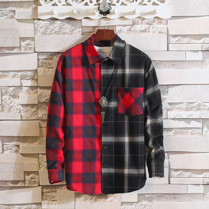 Japan Style Long Sleeve Flannel Plaid Casual Men Shirt 2019 For Spring Autumn Clothes 1