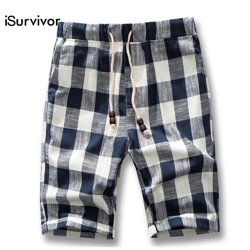 Isurvivor Linen Shorts Trousers Beachwear Men Summer Cotton Fashion Casual Plaid Male