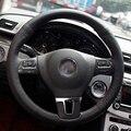Black Artificial Leather DIY Hand-stitched Steering Wheel Cover for Volkswagen VW Gol Tiguan Passat B7 CC Touran Magotan Sagitar