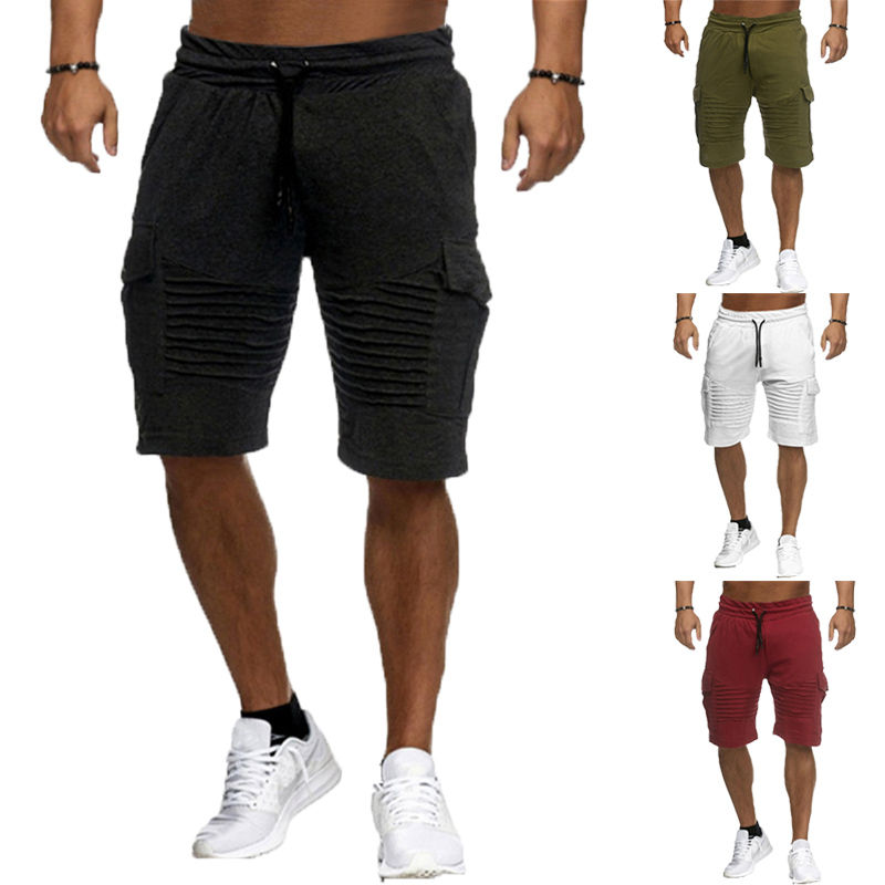 Cool Short Masculino Joggers Casual Shorts Cotton Men Knee-Length Drawstring Pockets Fitness Gyms 2XL Cargo Bermuda Summer 2018