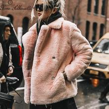 2019 Thick Faux Fur Winter Jacket And Coats Women Solid Slim Fit Warm Ladies Fur Coats Fake Rabbit Fur Coat Overcoat L12 amazon top sale pullover multicolor coat women overcoat faux fur winter coats