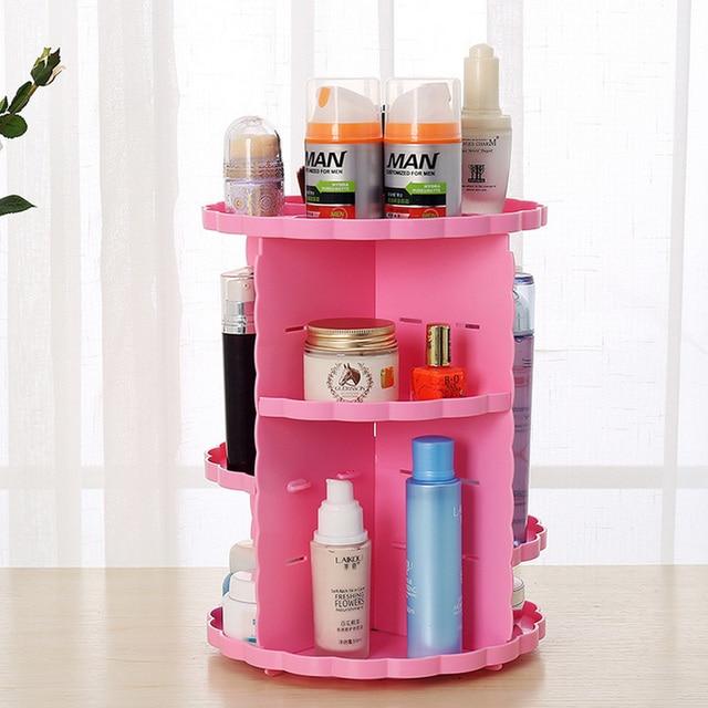 Make Up Organizer Adjustable 360 Rotating Organizer Cosmetic Rack Lipstick Makeup Shelf Storage Nail Polish Holder Flower