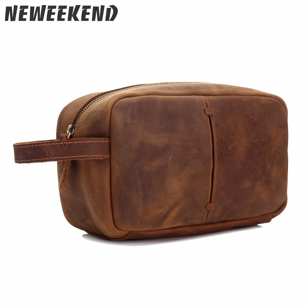 Genuine Cowhide Leather Women Men Cosmetic Toiletry Makeup Wash Necessaries Cas Handbag MS3331