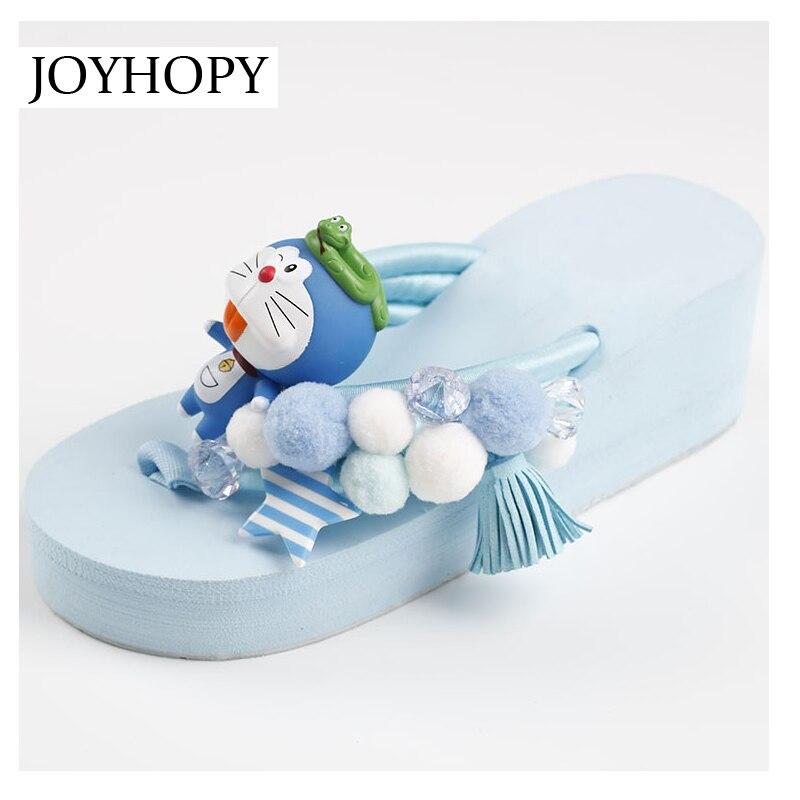 Schuhe Flip-flops SchöN Joyhoy Schöne Cartoon Robot Katze Flip-flops Sommer Frauen High Heel Hausschuhe Mode Keile Plattform Schuhe Mädchen Sandalen Aws064 Preisnachlass