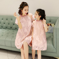 Family Matching Clothes Baby Girls Dresses 2018 Summer Matching Mom Daughter Vintage Dress Family Look Mom And Daughter Vestido