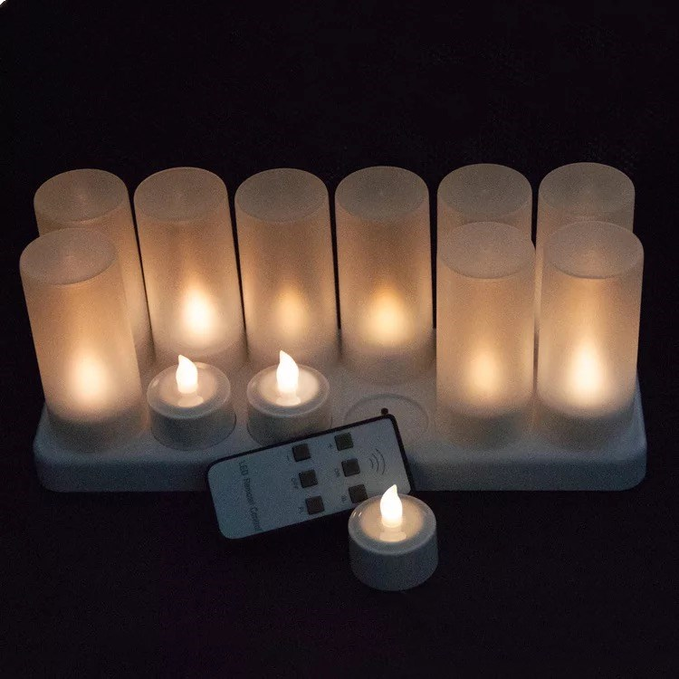 Set Of 12 Rechargeable Romantic Led Candles Flameless Tea Light Glow Lamp 6key W/remote Controller Waxless Christmas-warm White Excellent In Cushion Effect Home