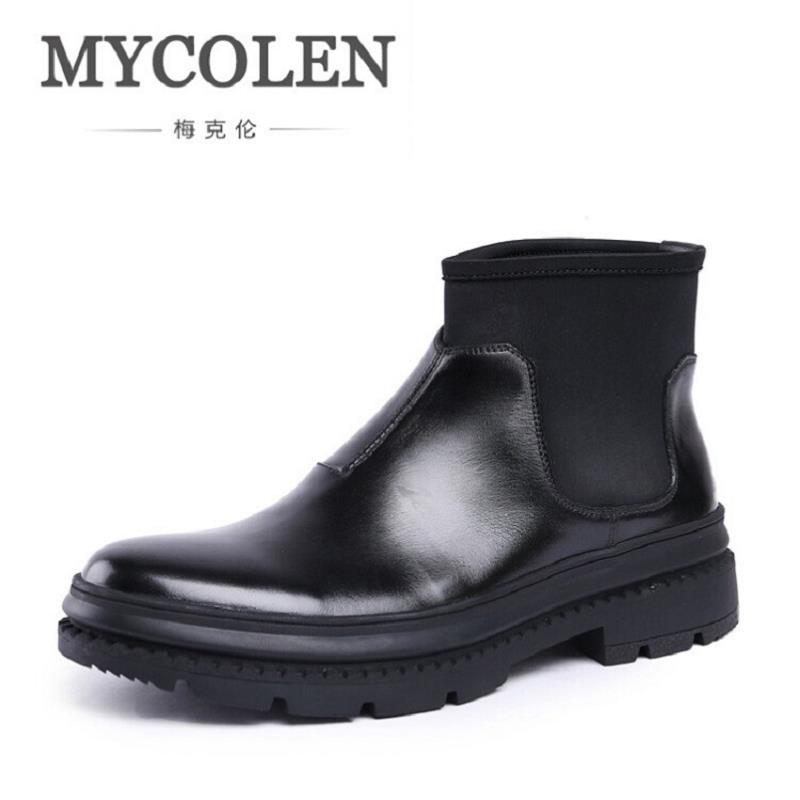 MYCOLEN Brand New Chelsea Boots British Style Fashion Comfortable Male Thick Soles Ankle Boots Slip-On Casual Shoes Botas Hombre пластик pla 3d systems cartridge for cubepro pla neon green 401397 01